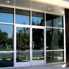 Aluminum Exterior Doors: Gray Double Door